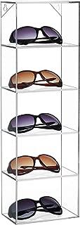Modern Clear Acrylic Wall Mounted Storage Organizer Rack / 5 Shelf Sunglasses Eyewear Display Case