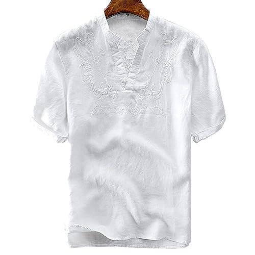 8fd5c6bc utcoco Men's Retro Frog Button V-Neck Embroidery Linen Henley Shirts Short  Sleeve