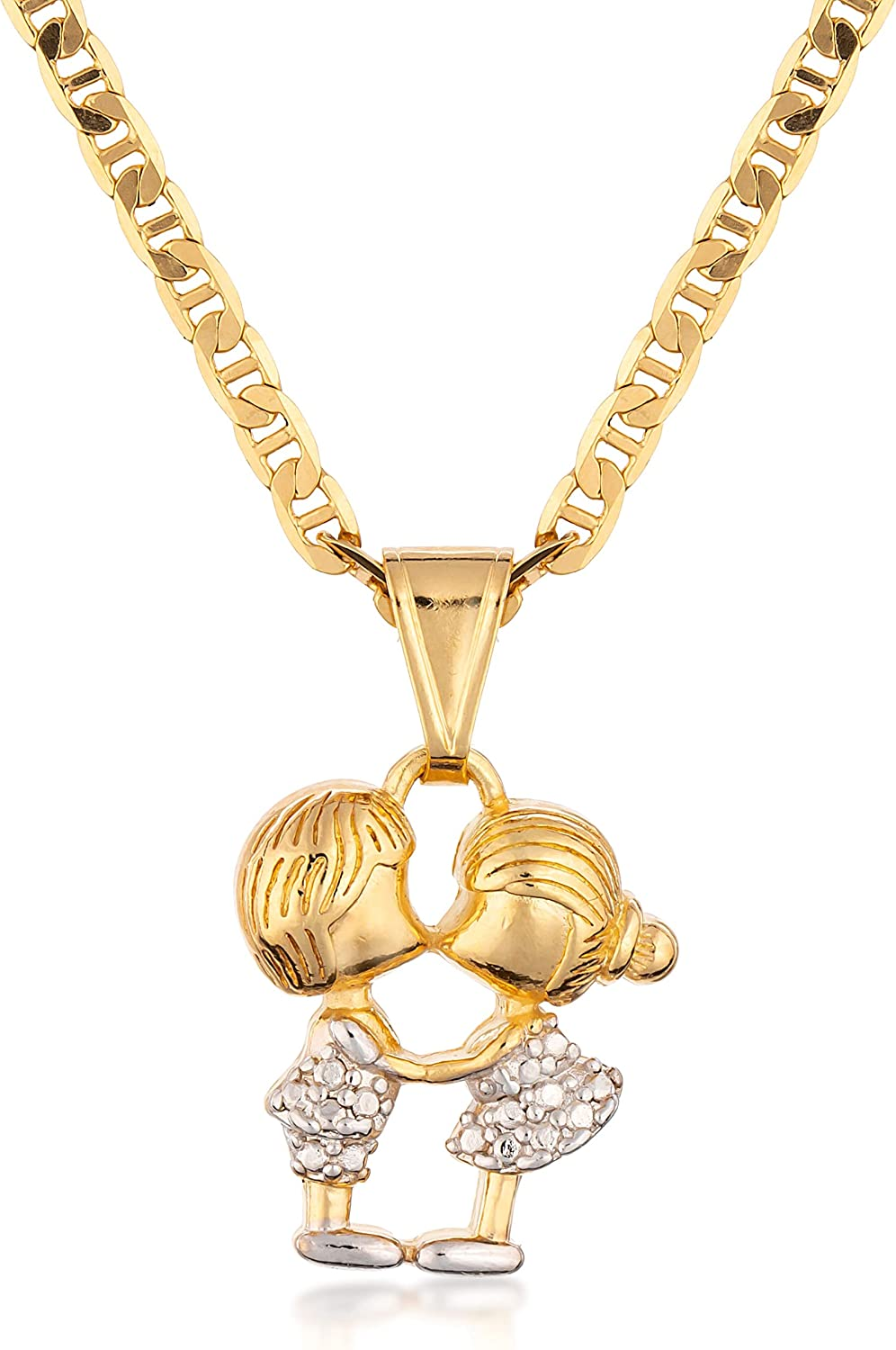 Barzel 18K Gold Plated Flat Mariner / Marina 060 3MM Chain Necklace With Young Love Kissing Charm Pendant