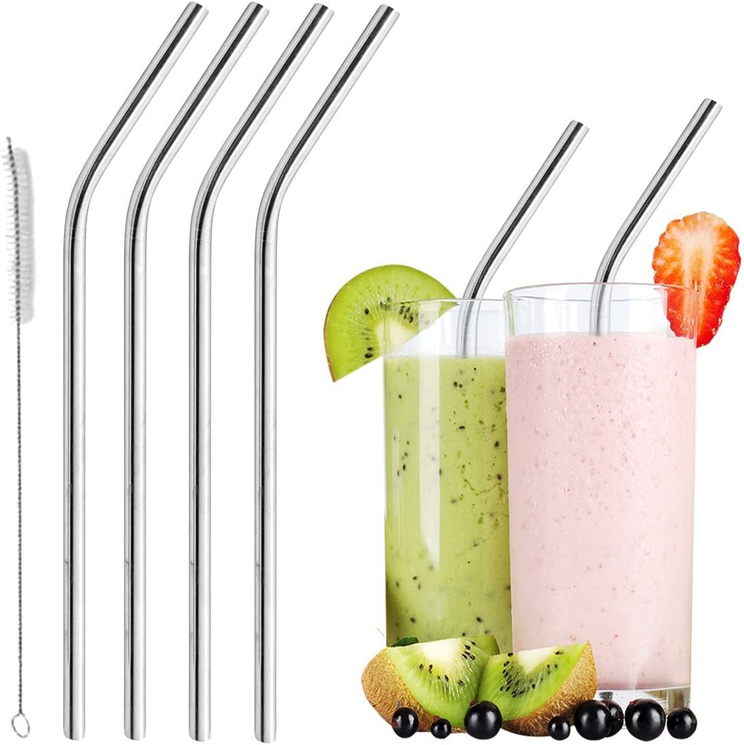 Stainless Steel Drinking Straws with 2 Cleaning Brush for Cocktail Metal Straws Reusable 8 Set Milk Environment Friendly for Daily Life Juices Drinks Smoothie