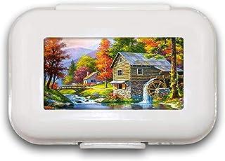 Sunok House Pill Box Pill Case Pill Organizer Decoratieve Boxen Pill Box voor Pocket of Purse - 8 Compartiment Pill Box/Pi...