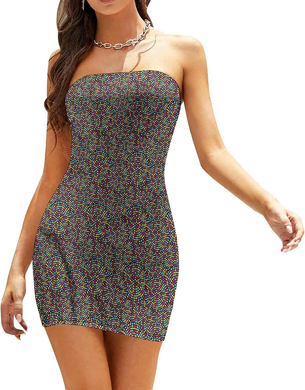 Women's Summer Strapless Dresses Ornamental Vintage Dresses