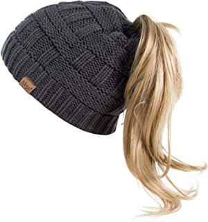 Best knit hat with messy bun hole Reviews