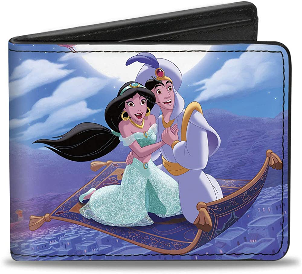 Buckle-Down Men's Standard Bifold Wallet Aladdin Jasmine, 4.0
