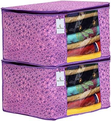 Kuber Industries Metallic Flower Design 2 Piece Non Woven Saree Cover, Large(Pink & Purple) - CTKTC34547