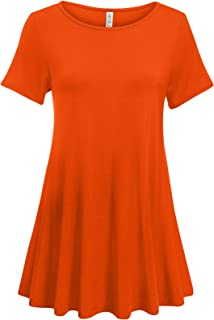 Simlu Womens Short Sleeve Tunic Tops Plus Size and Reg Tunic Shirt for Leggings - Made in USA