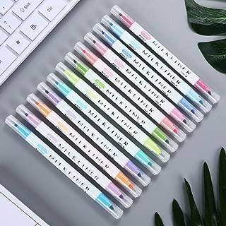 BE-TOOL - Rotuladores fluorescentes de doble cabezal para iluminación, juego de rotuladores de colores pastel arcoíris para estudiantes, oficinas, aulas, colores surtidos (12 colores)