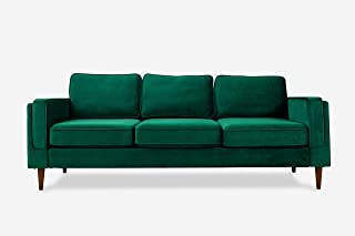 ALBANY PARK Midcentury Modern Sofa, Green Velvet