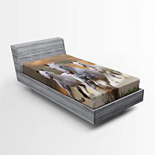 Ambesonne Horses Fitted Sheet, Stallion Horses Running on a Mystic Sky Background Male Champions Print, Soft Decorative Fabric Bedding All-Round Elastic Pocket, Twin Size, White Orange