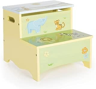 Guidecraft Wooden Hand-painted Savanna Smiles Kid's Storage Step-Up, Safari Theme