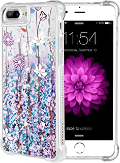 iPhone 7 Plus Case, Caka iPhone 7 Plus Floral Glitter Case Pink Flower Flowing Luxury Bling Glitter Sparkle Liquid Floating Soft TPU Case for iPhone 7 Plus 8 Plus (5.5 inch) (Blue Purple)