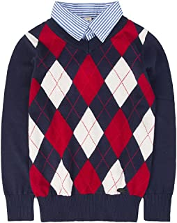 Benito & Benita Boys Sweaters V-Neck Faux Layered Uniform Sweater Long Sleeve Pullover with Argyle Patterns for 4-12Y