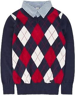 Shirt Collar Boys Sweater V-Neck Argyle Kint School Uniform Knit Plaid Kids Pullover for 4-12Y