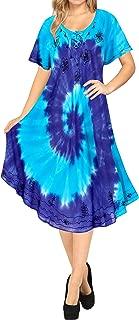 LA LEELA Women Summer Casual Swing T-Shirt Dresses Beach Cover up Hand Tie Dye A