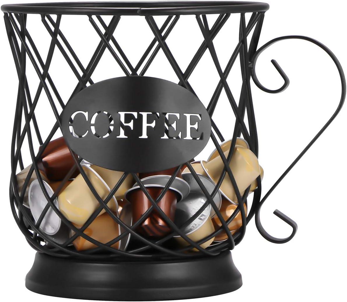 YChoice365 Soporte para cápsulas de café, Canasta de almacenamiento de café Soporte para cápsulas de café con asa, Organizador de cápsulas de café vintage, Almacenamiento de cocina, Universal