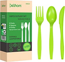 Delihom 100% Compostable Forks Spoons Knives Cutlery Set 24 PC Disposable Utensils Eco-friendly Tableware Set Potables for...