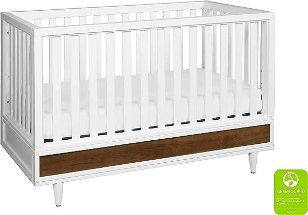 Babyletto Eero 4 合 1 可转换婴儿床与幼儿床转换套件白色天然胡桃