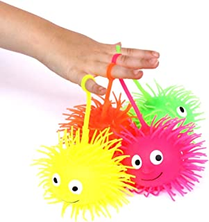 Dazzling Toys 6 Puffer Balls Light up Puffer Balls on a String | Pack of 6 | Party Favor Gooey Puffer Balls