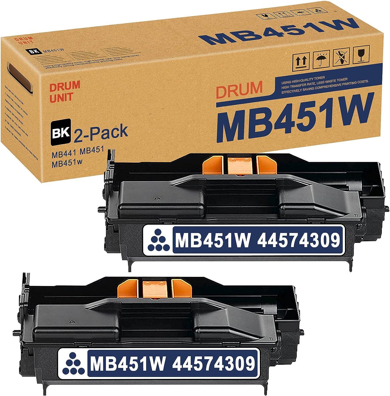 MB451W 44574309 Drum Unit (Black,2 Pack) Replacement for OKI MB441 MB451 MB451w Drum Kit Printer