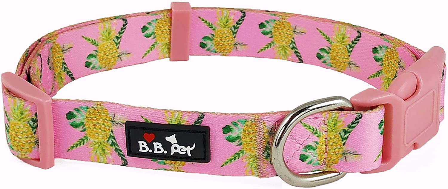 Bestbuddy Pet Durable Nylon Designer Pineapple Pink Trendy Comfortable Adjustable Dog Collar with Buckle BBP001