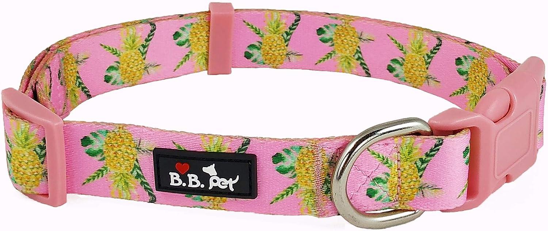 Bestbuddy Pet Durable Nylon Designer Pineapple Pink Trendy Comfortable Adjustable Dog Collar with Buckle BBP001