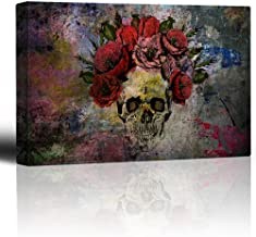 wall26 - Human Skull with Roses Flowers - Canvas Art Wall Decor - 24x36 inches