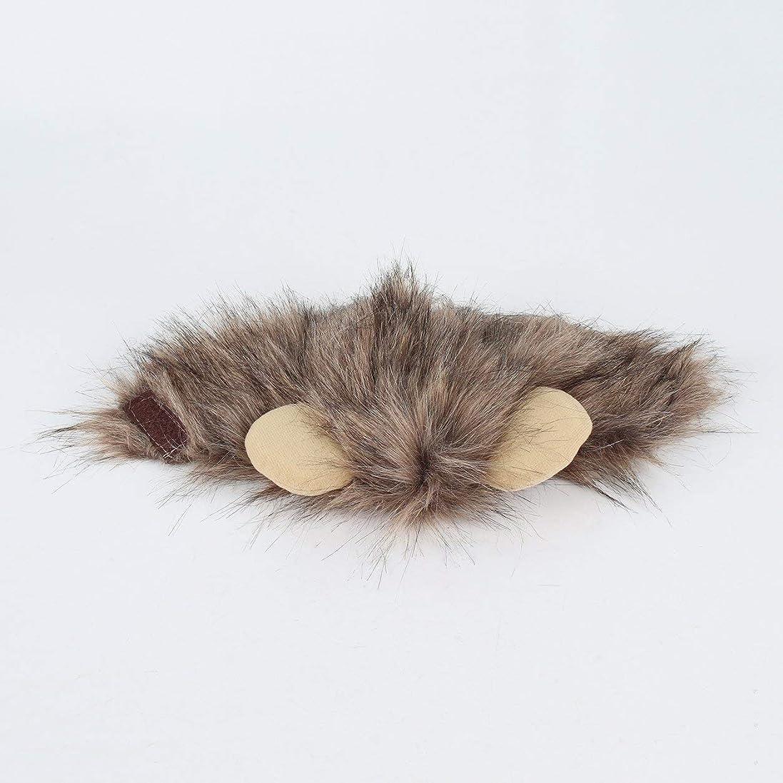 麻酔薬古い滑るSaikogoods おかしいかわいいペットキャップコスプレライオンの形の帽子後背位キティライオンハット快適なキャットハットソフト子犬ウィッグ通気性のアニマルキャップ 褐色 M