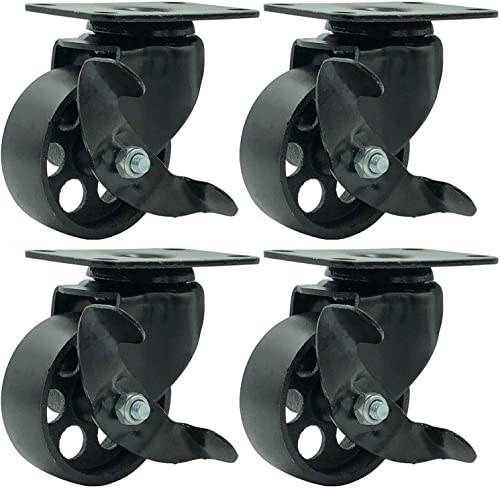 """FactorDuty 4 All Black Metal Swivel Plate Caster Wheels w/Brake Lock Heavy Duty High-Gauge Steel (3"""" with Brake)"""