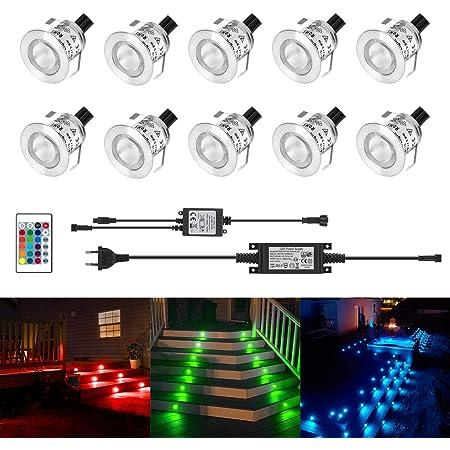 Kingwei 10 Set RGB Mini LED Spots Encastrables Lampe de Spot A LED IP67 Étanche Encastré Alimentation 12V Pour Terrasse Jardin