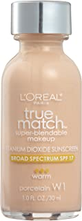 L'Oreal Paris Makeup True Match Super-Blendable Liquid Foundation, Porcelain W1, 1..