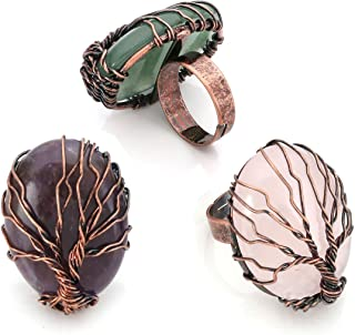 Top Plaza Handmade Retro Vintage Copper Wire Wrapped Tree of Life Oval Gemstone Healing Crystal Adjustable Ring Bronze Ban...