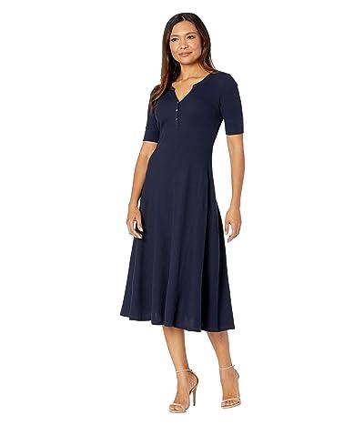 LAUREN Ralph Lauren Waffle Knit Fit-and-Flare Dress (Lauren Navy) Women