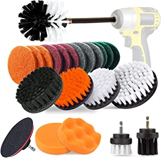 23 Piece Drill Brush Attachment Kit, Aufisi Power Scrubber Drill Brushes for Cleaning Bathroom, Flooring, Pool Tile, Brick, Ceramic, Marble, Grout, Car with 6'' Extension Bar for Drill (White)