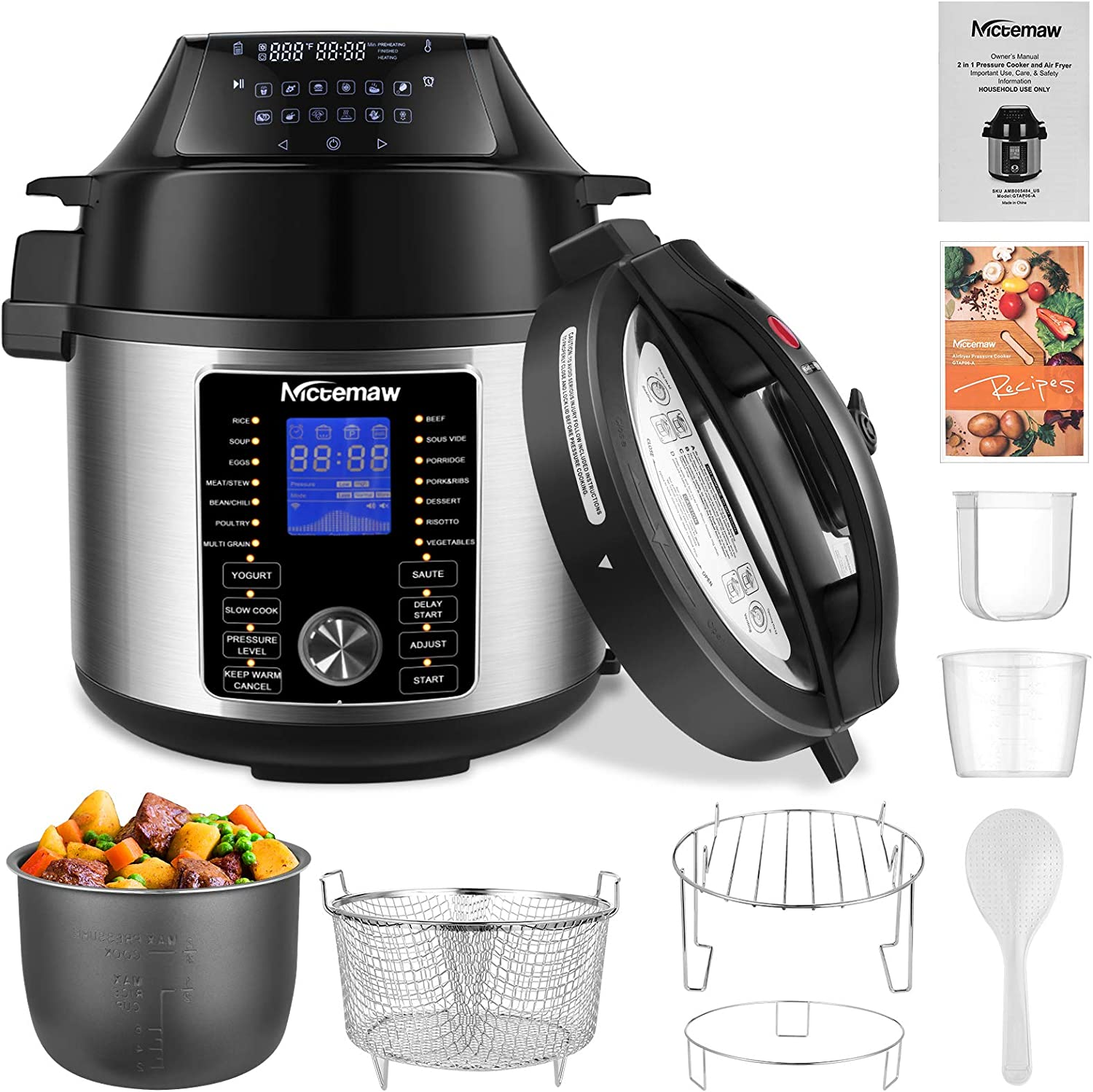Nictemaw 17-in-1 Electric Pressure Cooker 6-Quart
