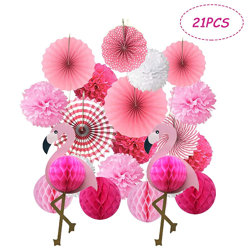 Kalolary Tropical Flamingo Party Honeycomb Decoration, Poms Poms Paper Flower Fan and Honeycomb Balls for Hawaiian Summer Beach Luau Party Birthday Baby Shower Wedding Festival Decorations(Pink)