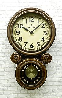 さんてる(Suntel) 掛け時計 ブラウン 410×245×80mm ミニだるま電波振り子掛け時計 アンティーク・ブラウン DQL676