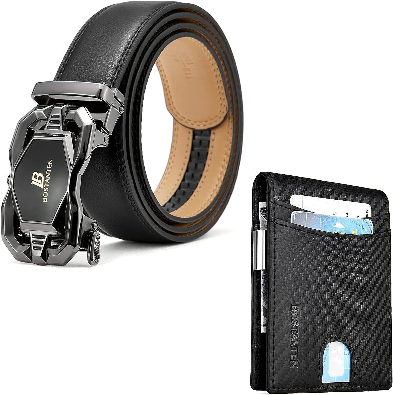 BOSTANTEN Men's Leather Ratchet Dress Belt with Automatic Sliding Buckle and Leather Wallets for Men Bifold Money Clip Slim Front Pocket RFID Blocking Card Holder Black