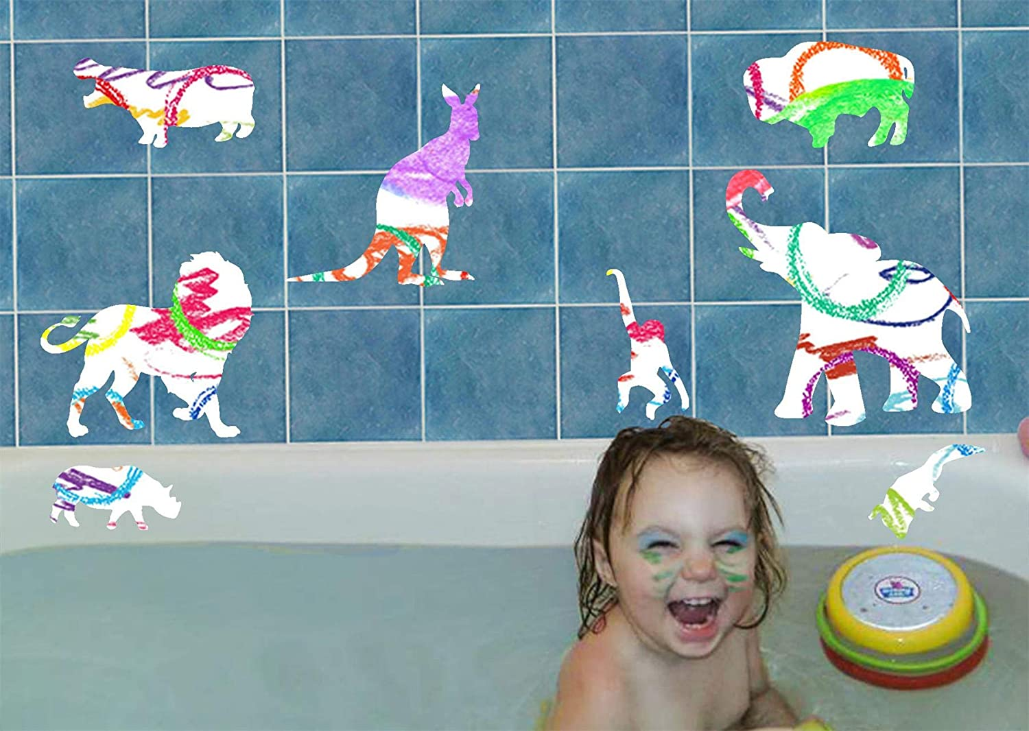 Bath Crayons for Kids with Safari Charlotte Mall Animals Vinyl Color 6 Ranking TOP9 - Decals