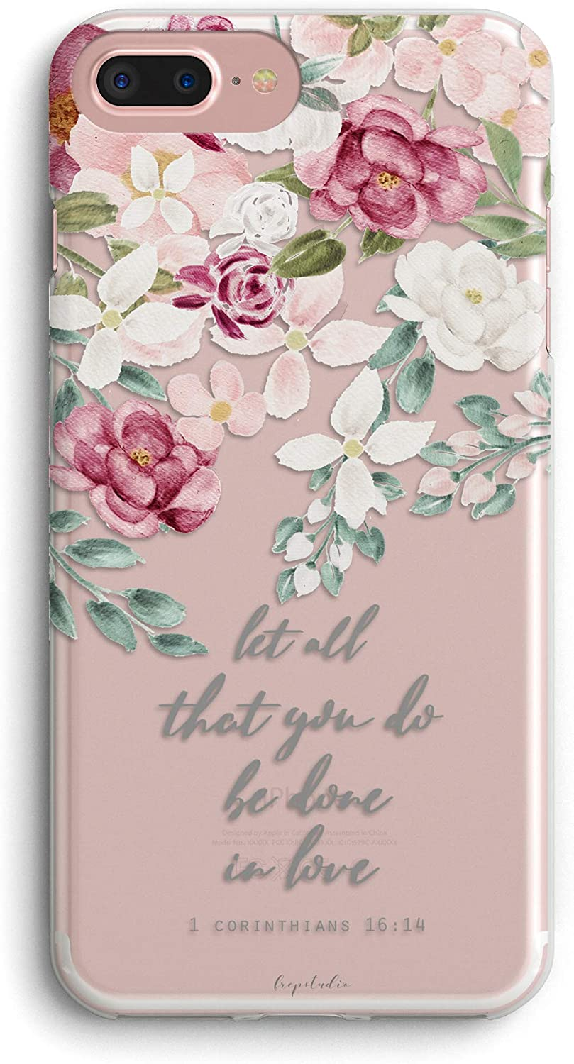 iPhone 8/iPhone 7/iPhone SE(2020) Case Red Pink Roses Inspirational Scripture Bible Verses Christian Quotes Corinthians Soft Protective Clear Design Case for Women Compatible with iPhone 8/iPhone 7