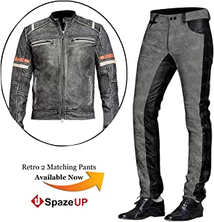 abb16f0a3 Spazeup Cafe Racer Jacket Vintage Motorcycle Retro Moto Distressed Leather  Jacket