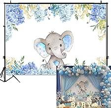 Mehofoto Boy Elephant Baby Shower Backdrop Light Blue Flower Elephant Photography Background 7x5ft Vinyl Elephant Birthday Party Banner Backdrops