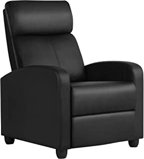 YAHEETECH Recliner Chair PU Leather Recliner Sofa Home Theater Seating with Lumbar..
