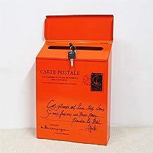 Iron Lock Letter Box Vintage Wall Mount Mailbox Mail Postbrief Krantendoos (Kleur: Oranje)