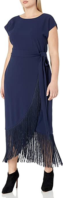 RACHEL Rachel Roy Womens RD17F427W Plus Size Short Sleeve Fringe Midi Wrap Dress Short-Sleeve Dress - Blue