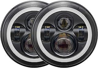 Galvor 7'' Round Black LED Headlight with White Halo/Amber Turn Signal for Jeep Wrangler JK LJ TJ CJ HUMMER H1 H2 Land Rov...