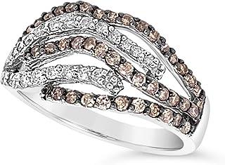 14k White Gold Light Brown and White Diamond Wrap Ring For Women (2/3 Carat)