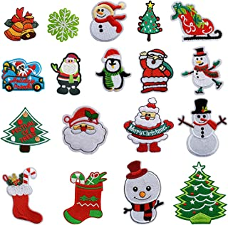 Christmas Sew-on & Iron-on Patch 18 Pcs Santa Snowman Tree Christmas Garland Embroidered Iron on Patches Appliques Decorative Repair Patches DIY Sew on Patches for Jeans Clothing