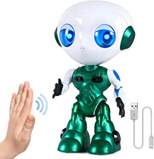 Interactive Talk and Walk Robot Toys for Boys Girls 2 3 4 5 6 7 Year Old ,Sensing Control Robot Gifts for Kids Toddlers Age 2+ Birthday Presents(Green)
