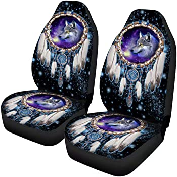 Forchrinse Galaxy Wolf Tribal Dreamcatcher Car Seat Belt Pads Cover 2 Pack Seat Belt Shoulder Strap Pad Cushion Universal Fit for SUV Truck Van Auto
