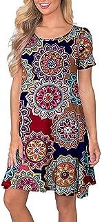 KYLEON Womens Boho Paisley Print 3/4 Sleeve A Line T Shirt Mini Dress Summer Casual Beach Top Short Tunic Dresses
